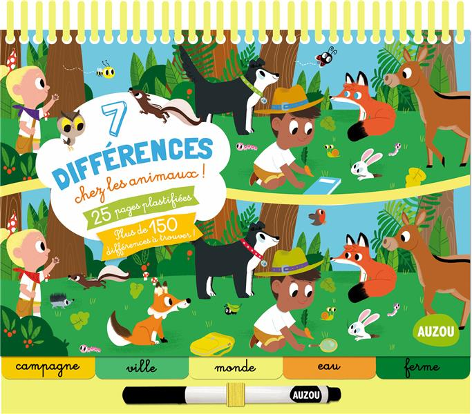 7 DIFFERENCES CHEZ LES ANIMAUX (COLL. BLOC-NOTES) Ahrweiller Lucile Auzou